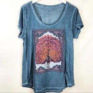 Lucky brand peacock scoop neck burnout T shirt L